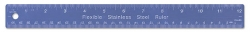 "6""/15 cm Flexible Stainless Steel Blue Coated Ruler w/ Cork Backing"